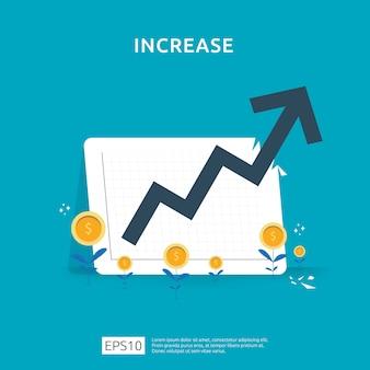 Aumento del salario. prestazioni finanziarie del ritorno sull'investimento concetto roi con la freccia. margine di crescita dei profitti aziendali. icona di vendita di costo. illustrazione di stile piano simbolo del dollaro