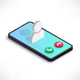Chiamata in arrivo sul concetto isometrico dello schermo dello smartphone isolato su priorità bassa bianca. cellulare 3d con schermata di chiamata, icona utente e pulsanti.