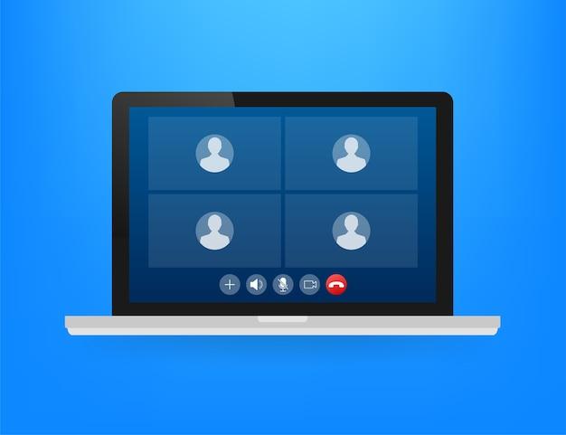 Videochiamata in arrivo sull'illustrazione del computer portatile