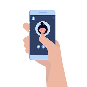 Videochiamata in arrivo sul telefono. interfaccia di videochiamata, modello di schermata di chiamata. illustrazione vettoriale