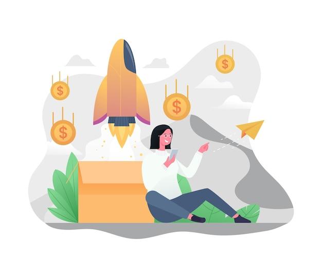 Aumento dell'illustrazione dei ricavi delle vendite