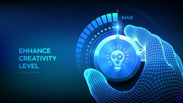 Aumento del livello di creatività. concetto innovativo e di soluzione.