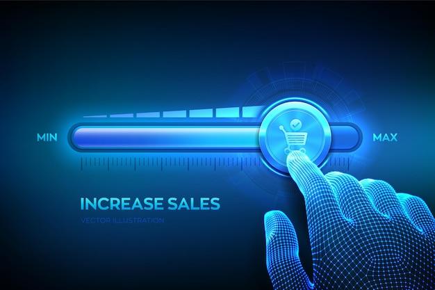 Aumento delle vendite. l'aumento del volume di vendita fa crescere il concetto di finanza aziendale. aumenta il tuo reddito. la mano wireframe sta tirando fino alla barra di avanzamento della posizione massima con l'icona del carrello. illustrazione vettoriale.