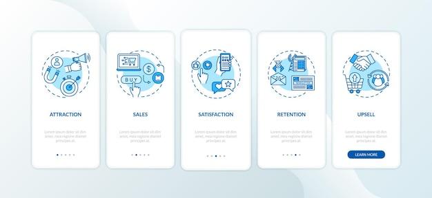 Aumentare la soddisfazione degli utenti nella schermata della pagina dell'app mobile a bordo con i concetti. procedura di vendita e upselling 5 istruzioni grafiche in passaggi. modello vettoriale dell'interfaccia utente con illustrazioni a colori rgb