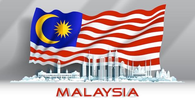 Celebrazione dell'anniversario dell'indipendenza giornata nazionale in sfondo bandiera malese ma