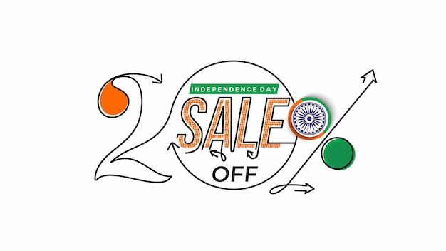Banner di sconto di vendita del 20% di sconto sul giorno dell'indipendenza prezzo dell'offerta di sconto. illustrazione moderna della bandiera di vettore.