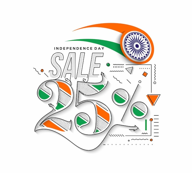 Independence day 25% di sconto sulla vendita di banner. prezzo dell'offerta di sconto. illustrazione moderna della bandiera di vettore.
