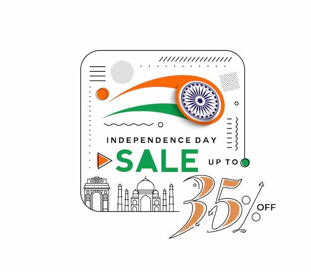 Banner di sconto di vendita del 35% di sconto per il giorno dell'indipendenza. prezzo dell'offerta di sconto. illustrazione moderna della bandiera di vettore.