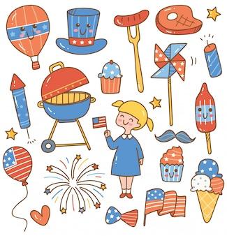 Giorno dell'indipendenza 4 luglio set di elementi di design