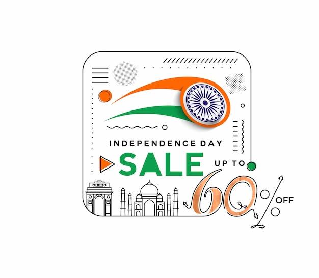 Banner di sconto di vendita del 60% di sconto sul giorno dell'indipendenza. prezzo dell'offerta di sconto. illustrazione moderna della bandiera di vettore.