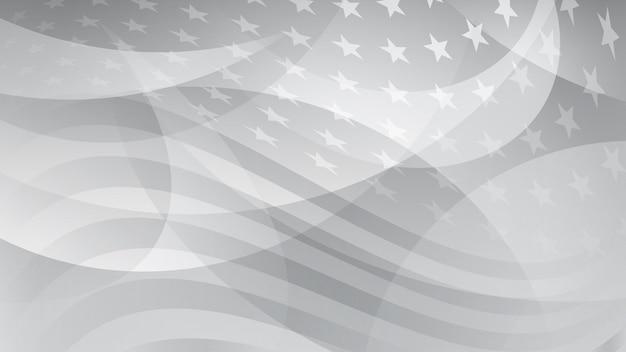 Fondo astratto di festa dell'indipendenza con elementi della bandiera americana in colori grigi