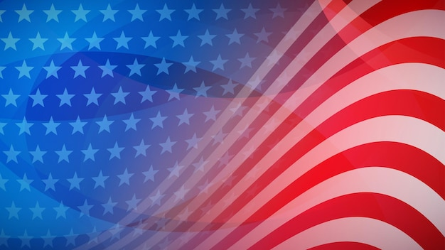 Fondo astratto di festa dell'indipendenza con elementi della bandiera americana nei colori rosso e blu