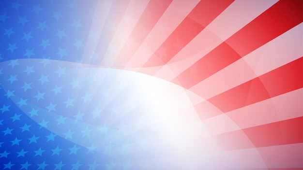 Fondo astratto di festa dell'indipendenza con elementi della bandiera americana nei colori rosso e blu Vettore Premium
