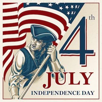 Independence day - illustrazione d'epoca del 4 luglio