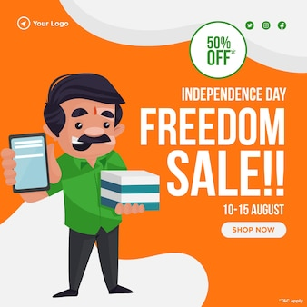 Banner di vendita della libertà del giorno dell'indipendenza