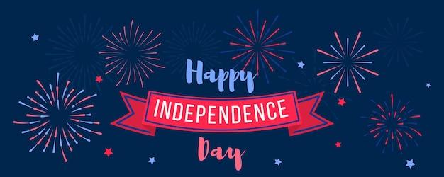Giorno dell'indipendenza il 4 luglio. biglietto di auguri, invito con fuochi d'artificio a mano nei colori degli stati uniti