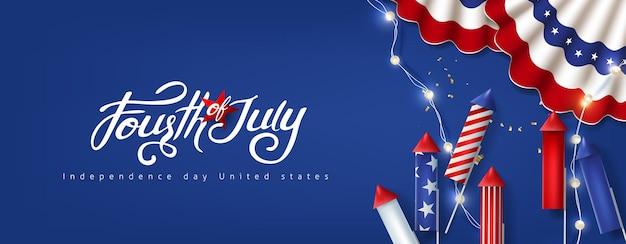 Bandiera di celebrazione del giorno dell'indipendenza usa con decorazione festiva americana. modello del manifesto del 4 luglio.