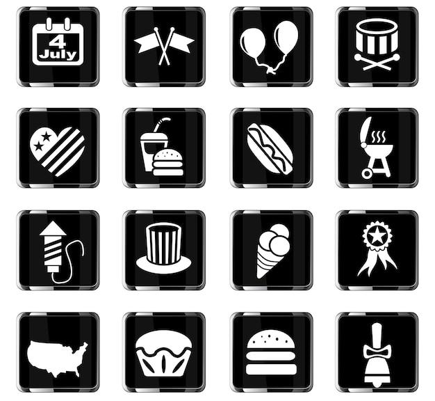 Icone web del giorno dell'indipendenza per la progettazione dell'interfaccia utente
