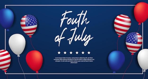 Indipendenza usa con bandiera americana di palloncino elio volante. 4 luglio