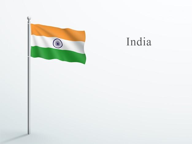 Elemento 3d di bandiera india sventolando sul pennone in acciaio