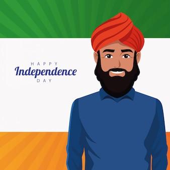 Carta felice di celebrazione di festa dell'indipendenza dell'india con l'uomo e la bandiera