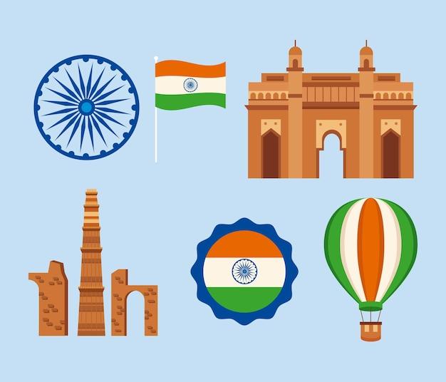India e felice insieme di elementi del giorno dell'indipendenza