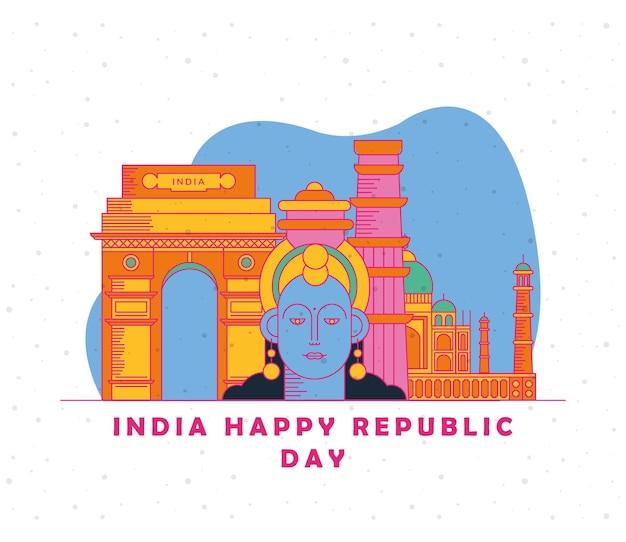 India felice giorno della repubblica carta con krishna