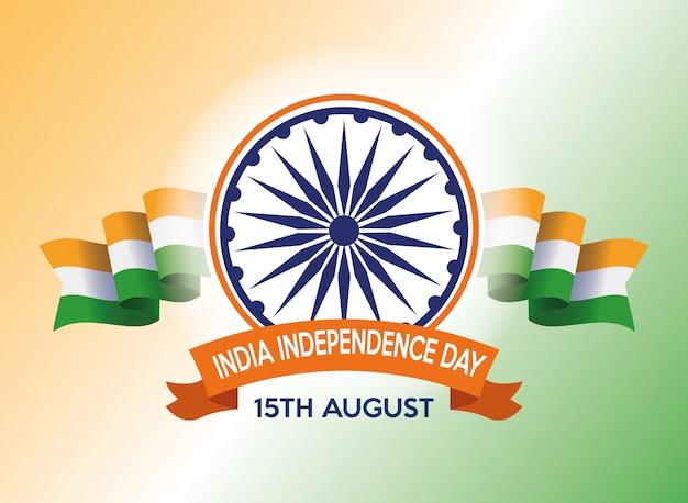 Celebrazione di festa dell'indipendenza dell'india con il chakra e le bandiere di ashoka