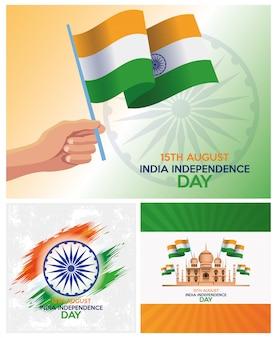 Celebrazione della festa dell'indipendenza dell'india con bandiere e icone set