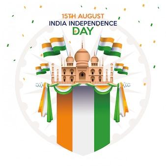 Celebrazione della festa dell'indipendenza dell'india con la moschea e le bandiere del taj mahal