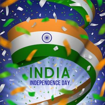 Cartolina d'auguri di giorno dell'indipendenza dell'india con i coriandoli celebrativi del nastro d'ondeggiamento