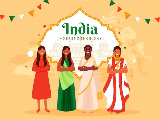 Manifesto del giorno dell'indipendenza dell'india con gruppo femminile di religione diversa e monumenti famosi di line art su sfondo arancione pastello.