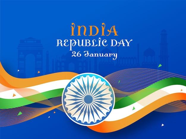 Concetto di giorno della repubblica dell'india con la ruota di ashoka