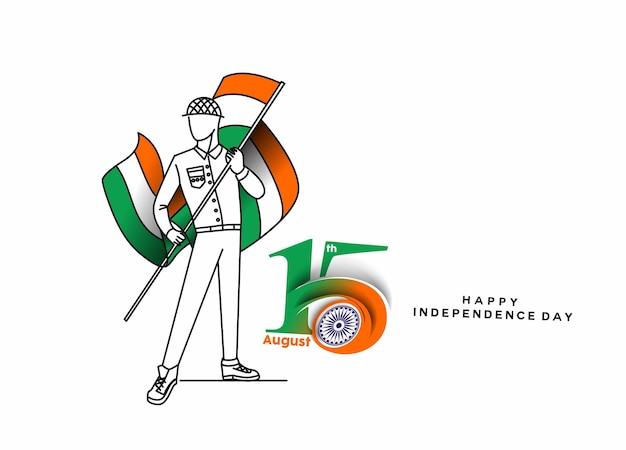 Esercito indiano che mostra la vittoria dell'india. concetto di festa dell'indipendenza con testo 15 agosto.