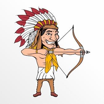 Cartone animato capo indiano con freccia ispirazione grafica vettoriale