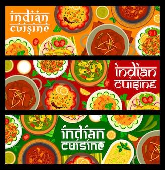 Banner di cibo cucina indiana. riso al limone vettoriale, curry di agnello e dessert allo yogurt shrikhand, bhuna ai funghi, polpette di carne di agnello gushtaba e pollo con spinaci palak murgh, peperoni fritti chili bajji