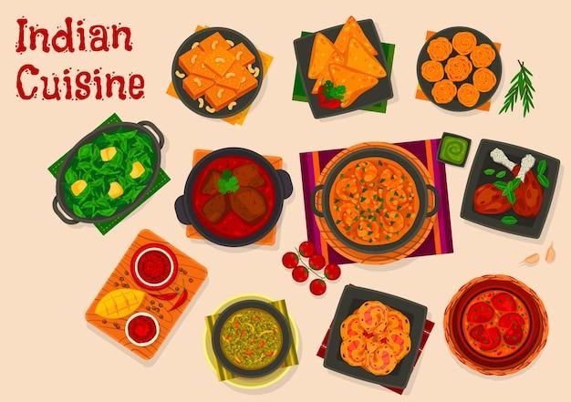 Cucina indiana con piatti vettoriali di curry di carne e frutti di mare, samosa di pasta fritta e dessert khaman dhokla. masala di gamberi, chutney di mango e zuppa di lenticchie masoor dal, design del menu del ristorante