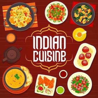 Copertina del menu della cucina indiana, piatti di cibo speziato