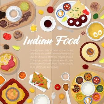 Modello di menu di cucina indiana