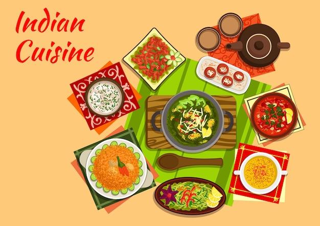 Piatti originali della cucina indiana di palak di spinaci, zuppa di pollo e pomodoro al curry, insalata di pollo, zuppa di mandorle, pulao di maiale