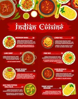 Modello di menu del ristorante di cucina indiana. bhuna ai funghi, polpette di agnello gushtaba e curry di agnello, pollo con spinaci palak murgh, yogurt shrikhand e peperoni fritti chili bajji, riso al limone