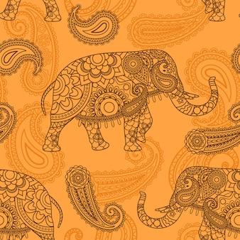 Modello senza cuciture di elefante indiano in sfondo vettoriale stile indiano