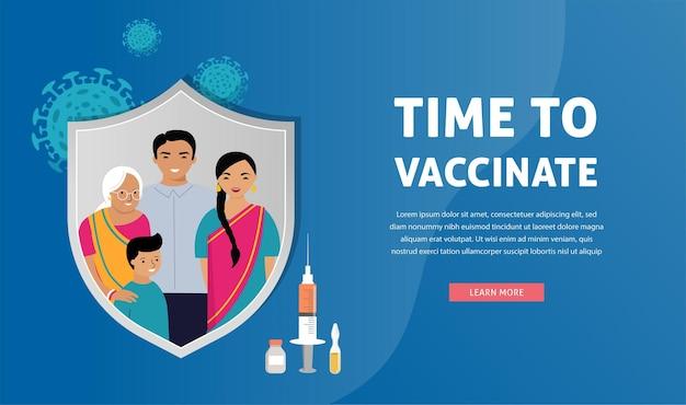 Tempo di progettazione del concetto di vaccinazione della famiglia indiana per vaccinare la siringa banner con il vaccino per l'influenza covid
