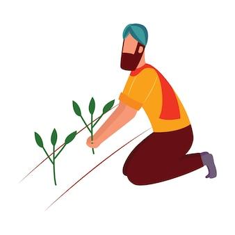 Uomo indiano del coltivatore che si inginocchia e che tiene lo stile del fumetto della pianta del raccolto