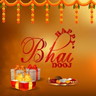 Biglietto di auguri per la celebrazione del festival indiano felice bhai dooj