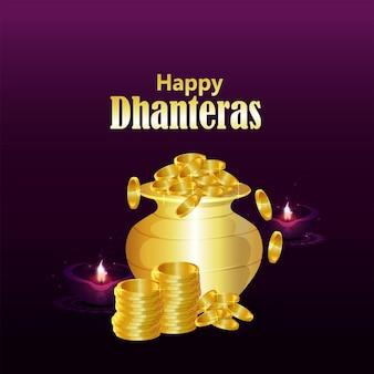 Fondo felice di celebrazione di dhanteras di festival indiano