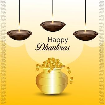 Biglietto di celebrazione del festival indiano felice dhanteras con vaso di monete d'oro