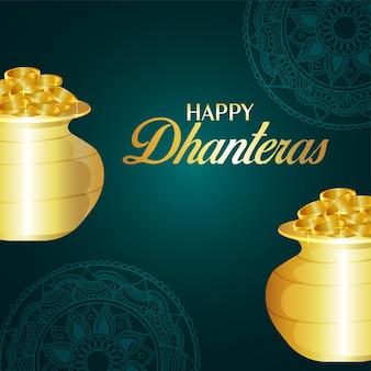 Cartolina d'auguri di celebrazione felice dhanteras festival indiano con vaso di monete d'oro