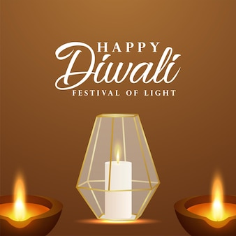 Festa indiana del biglietto di auguri per la celebrazione del diwali felice con diwali creativo diya