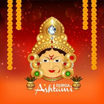 Scheda di celebrazione felice di ashtami di durga di festival indiano con l'illustrazione di vettore Vettore Premium